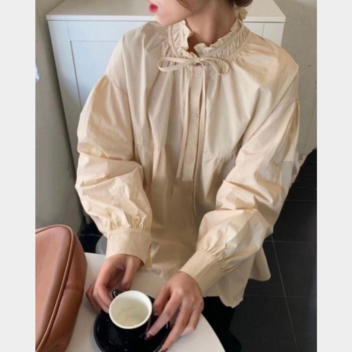 shirring ribbon blouse[2103-21]
