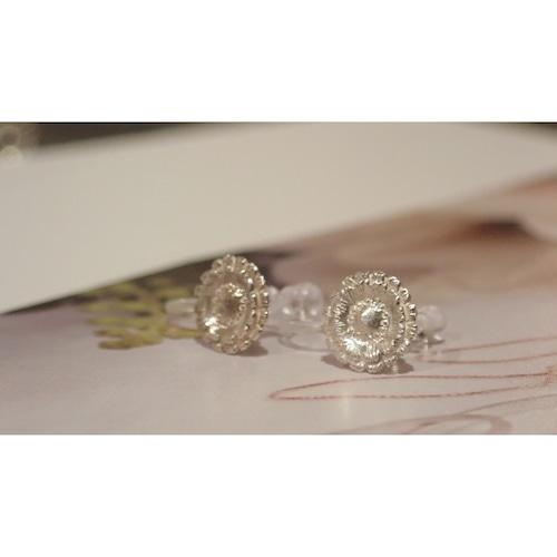Gerbera Silver Clip-on Earrings