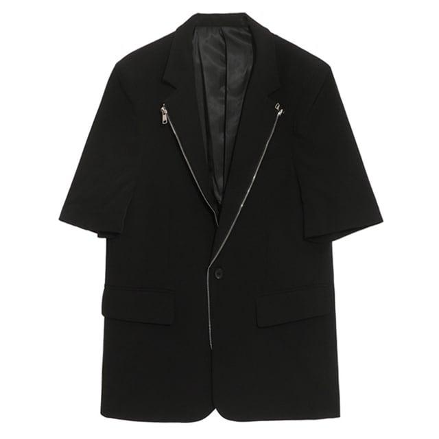 【SELECT】ZIPラペル半袖テーラードジャケット
