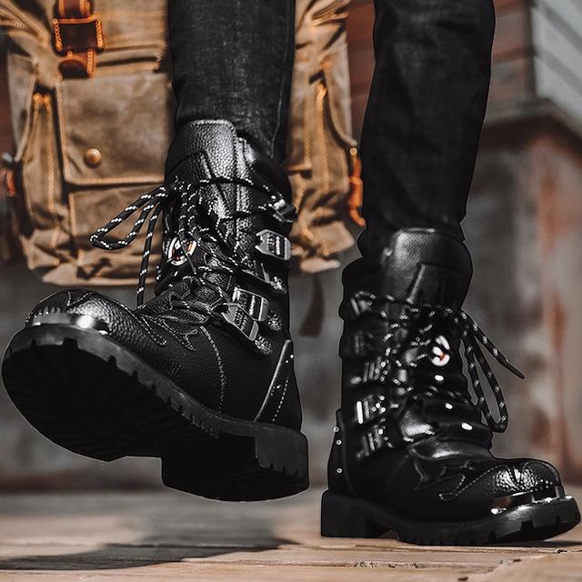 【潮董シリーズ】★ブーツ★ マーティン靴 ファッション メンズ サイズ39-46 厚て ブラック 黒い 合わせやすい
