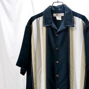 【USED】ラインデザイン 半袖 レーヨンシャツ ブラック