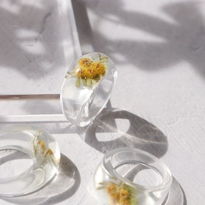 RING || 【通常商品】 ROUND SHAPED CLEAR RING (MIMOSA YELLOW) || 1 RING || CLEAR || FBA040