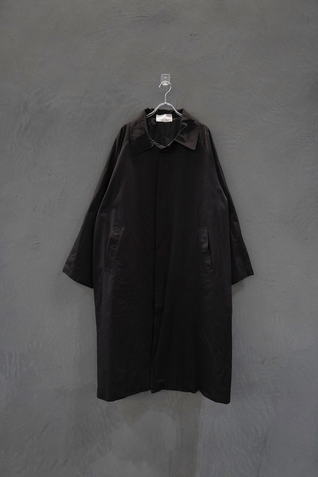 ℃℃℃ Back botão trench coat Black
