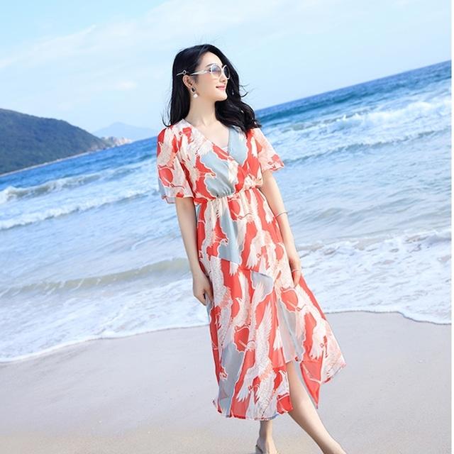 【ワンピース】ロング 半袖 Vネック Aライン ワンピース 春夏