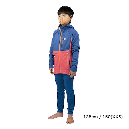 Kids 130 / UN3100 Mid weight fleece hoody / Navy : Red