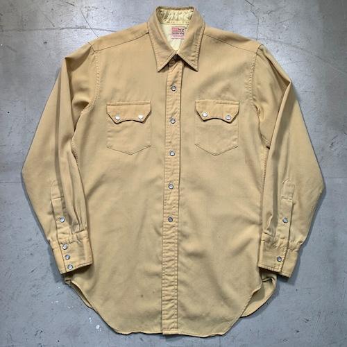 50's LEVI'S リーバイス ウールギャバジンウェスタンシャツ ショートホーンタグ フルスナップボタン マスタード 丈詰め M~L位希少 ヴィンテージ BA-1493 RM1862H