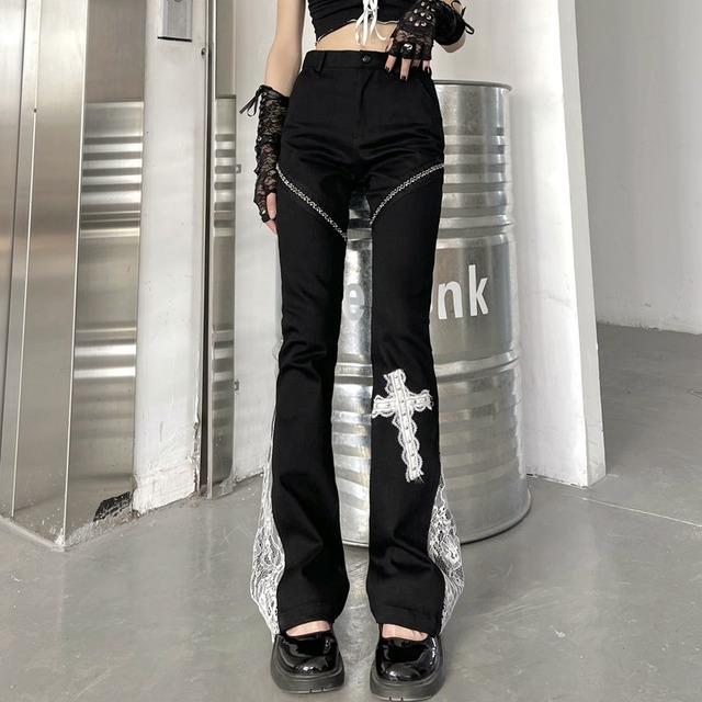 【ボトムス】ファッションハイウエストレギュラー丈レースカジュアルパンツ46991059