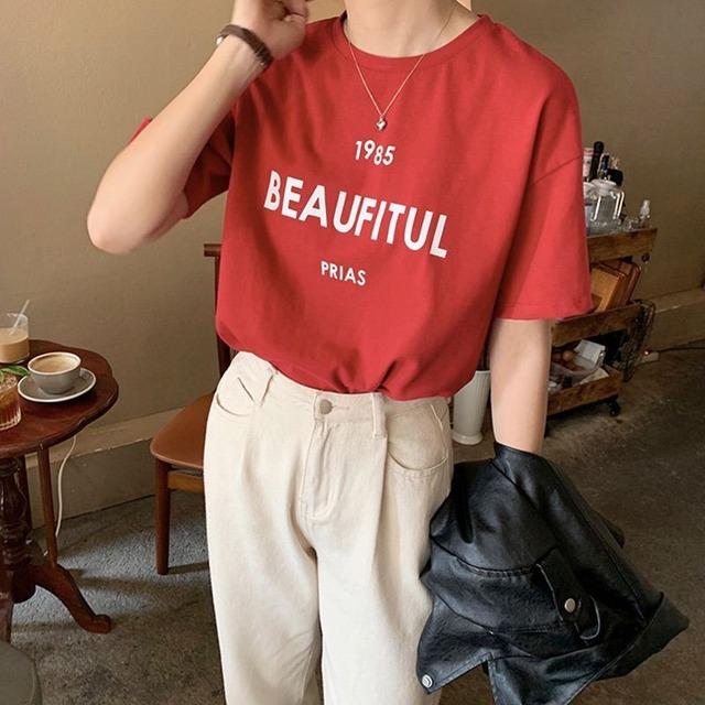 ◆即納レッドラスト1個◆赤ロゴ ドロップショルダー 半袖プリントTシャツ 2S-054