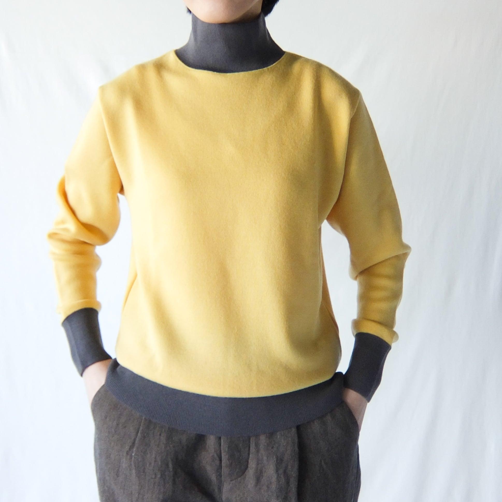 HAVERSACK - ウールスムース ハイネックセーター - Yellow × Charcoal