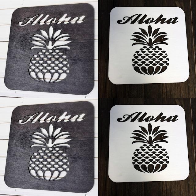 Aloha~パイナップル ウォールアート(Mサイズ)インテリアパネル  木製 軽量 ウォールパネル ハワイアン雑貨 ハワイアンインテリア 新築祝いプレゼント 引っ越し祝いプレゼント 模様替え