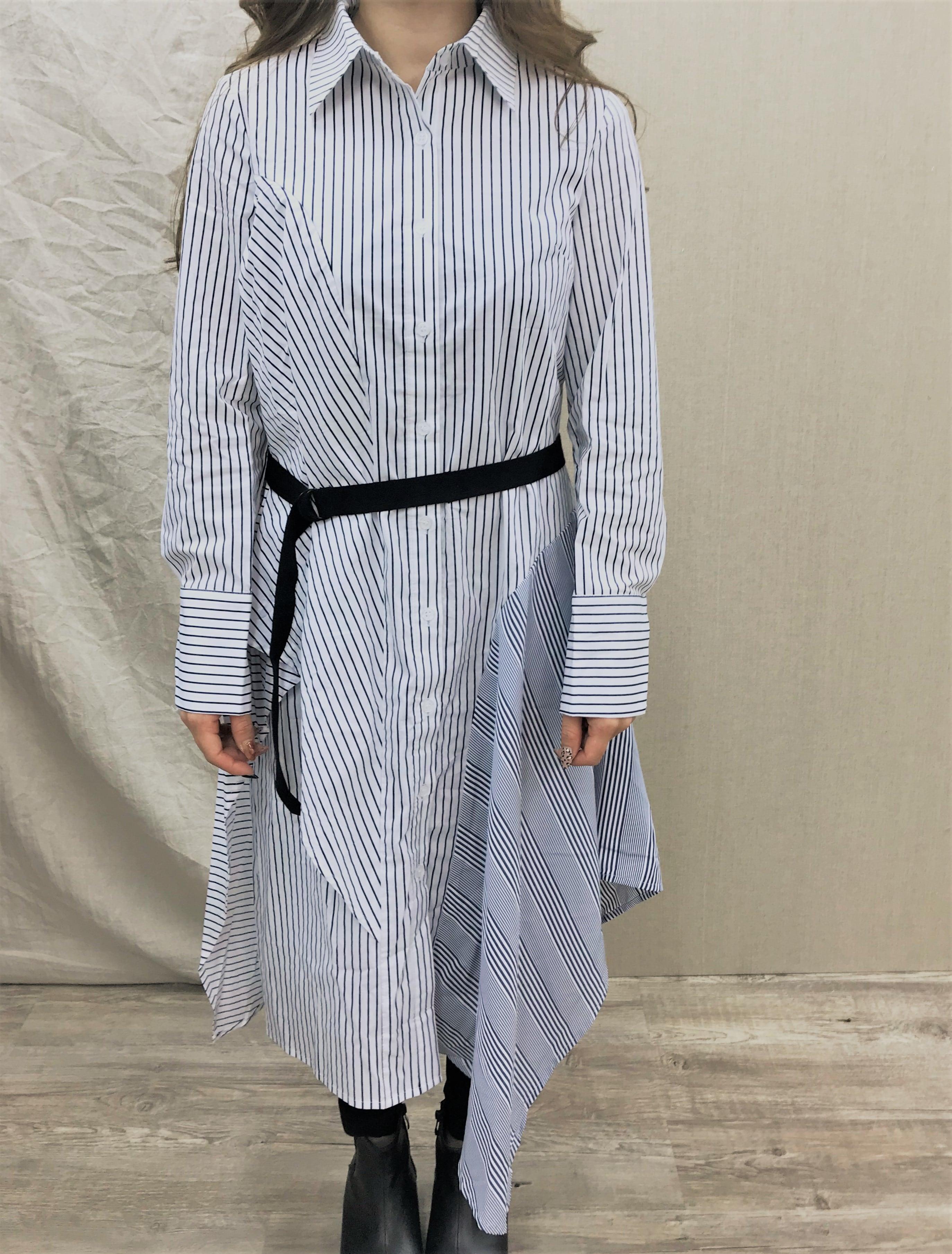 シャツワンピース(ストライプブルー) フリル 春秋冬 切り替え ドレス ベルト デザイン