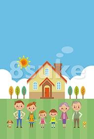 イラスト素材:マイホームと幸せ家族/背景あり(ベクター・JPG)