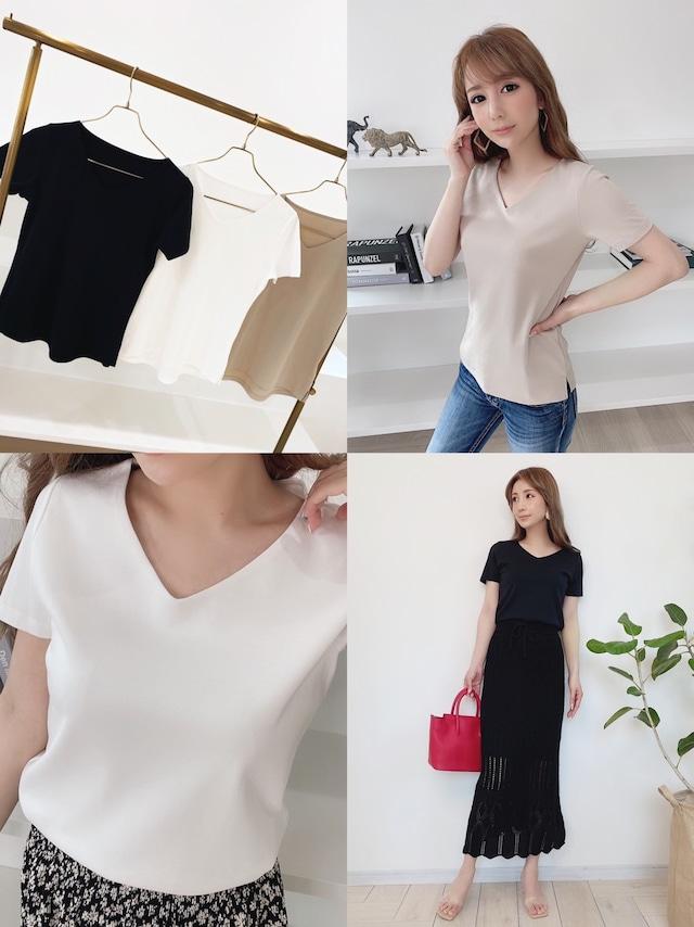 再販売!安心の2枚仕立て♡ベーシック VネックTシャツ ¥5,200+tax