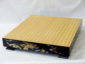 碁盤 高級漆芸沈金彫り飛鳥調脚付卓上盤   伝統工芸士 佐々木貢氏作 雲龍