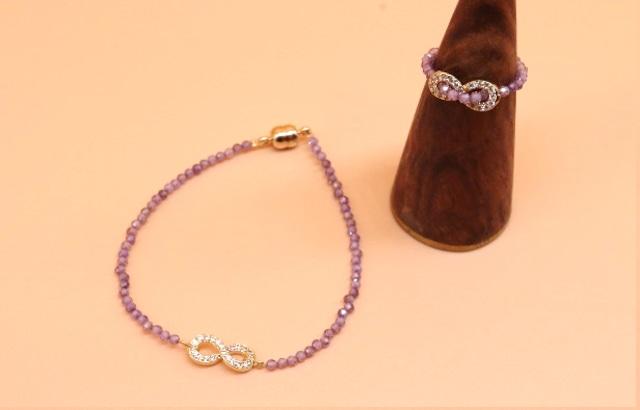 butterfly ribbon ブレスレッド+リング ガラス [LBTR0703]