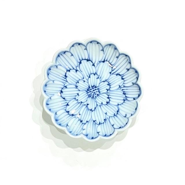 染付牡丹 菊型3寸小皿