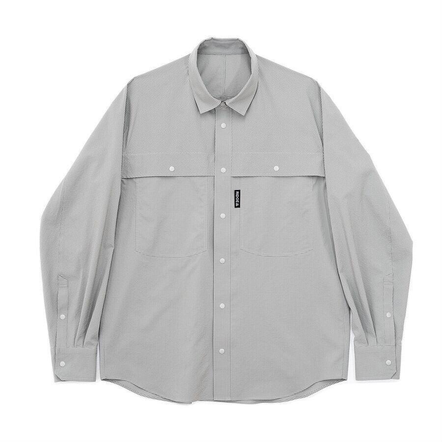 RIDGE MOUNTAIN GEAR Big Pocket Long Sleeve Shirt グレーチェック