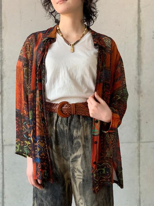 Vintage Ethnic Pattern See Through Silk Blouse