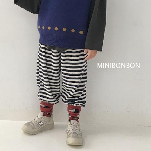 minibonbon パイル地ボーダーパンツ140~150