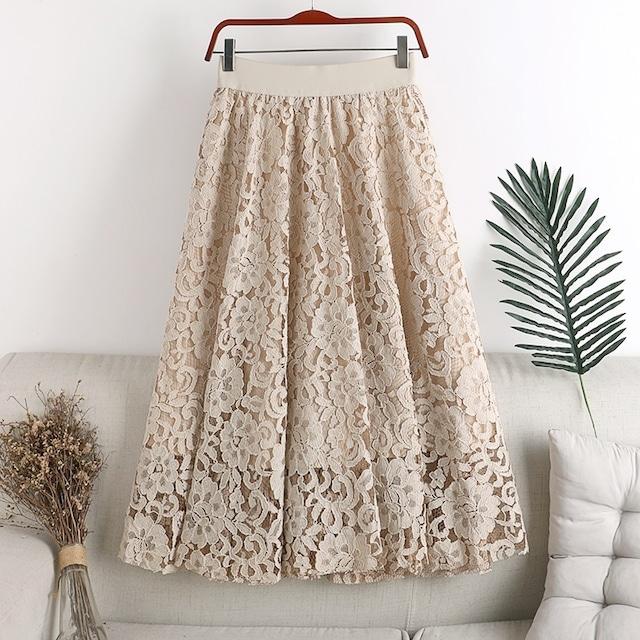 かぎ針編みミドル丈スカート 3色 【210263】
