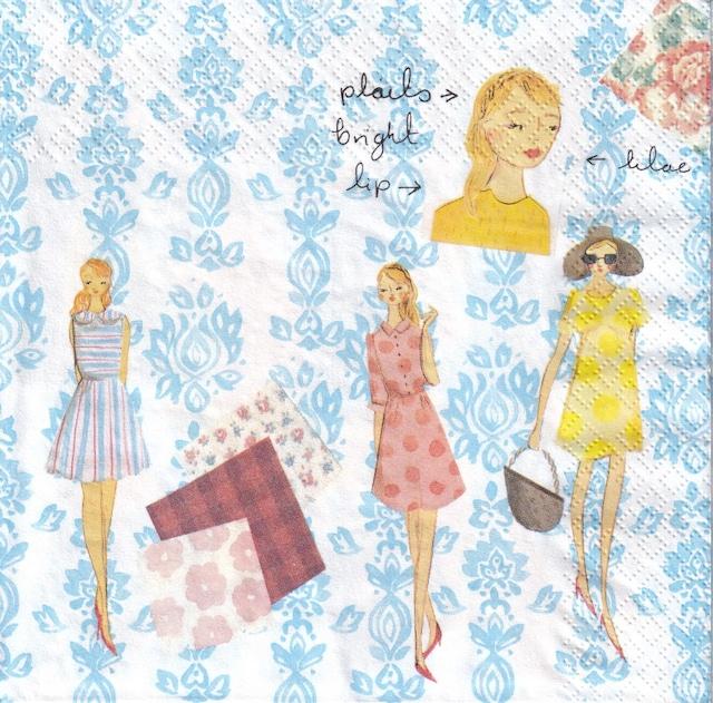 【Aimez le style】バラ売り1枚 ランチサイズ ペーパーナプキン ファッションスケッチブック ブルー