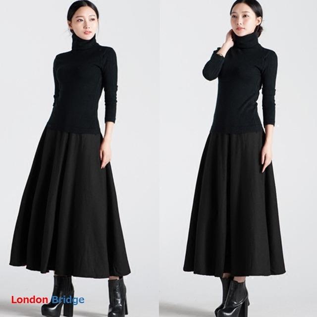 【ウール混!!暖かい秋冬スカート ロングスカート】フレアスカート 暖かいスカート ウエストゴムで履きやすい 動きやすいスカート おしゃれ