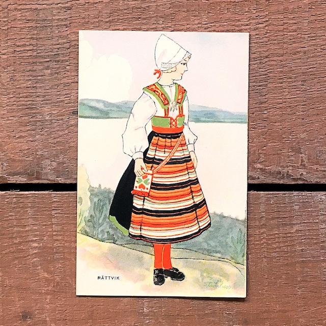 民族衣装カード「RÄTTVIK(NATIONAL BILDER - 05)」《201216-01》