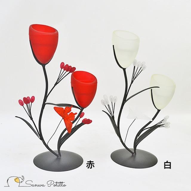 キャンドルホルダー 花 フラワー X18223-18224 高さ28cm 赤 白ライト 間接照明 ヒーリング 癒し 瞑想 ギフト プレゼント ハロウィン クリスマス