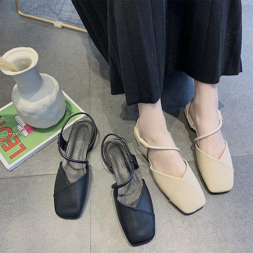 ストラップ サンダル ローヒール 韓国ファッション レディース アンクルストラップ スクエアヘッド カジュアル 痛くない 歩きやすい ぺたんこ フラット DTC-586635010308