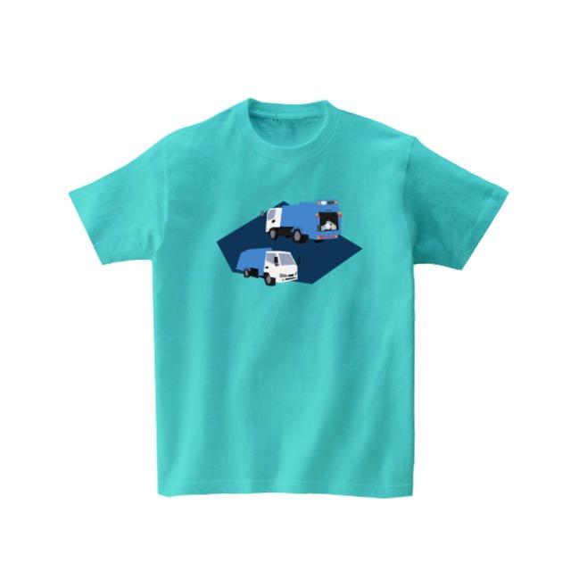 車Tシャツ-ゴミ収集車(アクア)