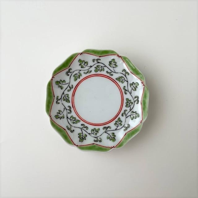 【おてしょ皿】色絵唐草富士山図 輪花皿