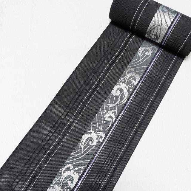 【新品】半幅帯 紗 正絹 博多織金ラベル 黒 お仕立て上がり 波しぶき★1点限り