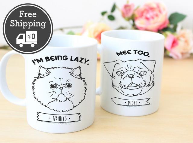 <送料無料> オーダーメイド 名入れペアマグカップ【ネコ&犬】│お誕生日プレゼント 結婚祝い