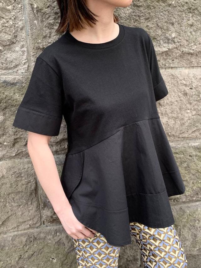 裾フリル切り替えTee[Color:ブラック]
