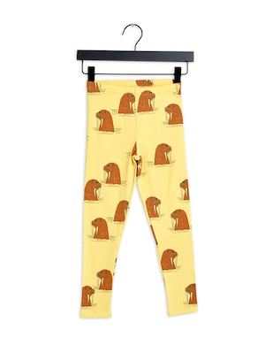 【21AW】 minirodini ( ミニロディーニ )  Walrus aop leggings yellow レギンス