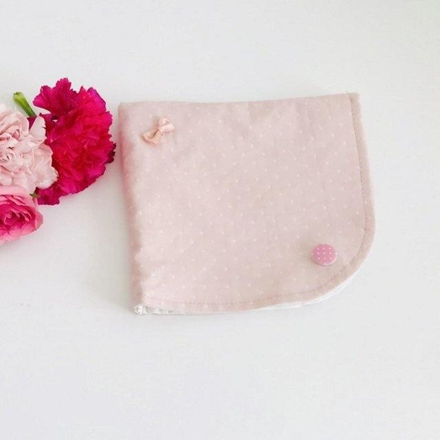 ピンク×白のドット柄立体マスクケース(マスクポーチ)