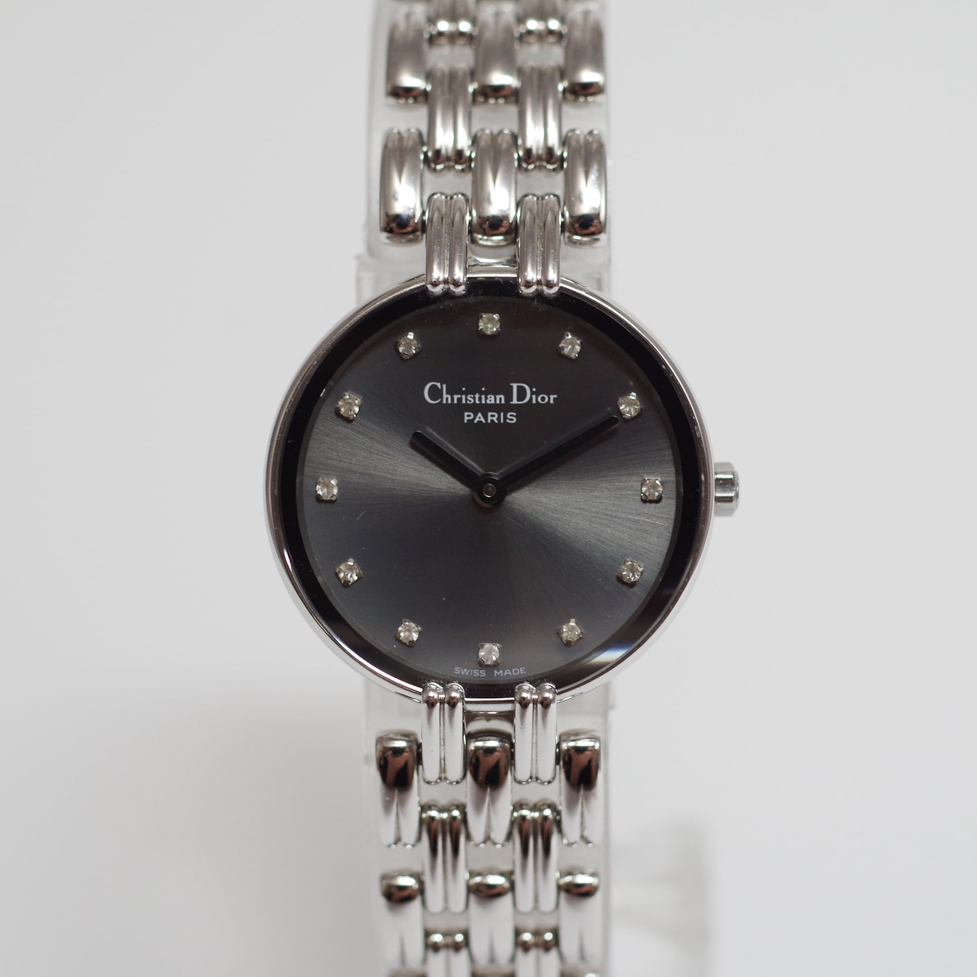 Christian Dior ディオール D44-120 バギラ SS クォーツ グレー文字盤 腕時計 レディース