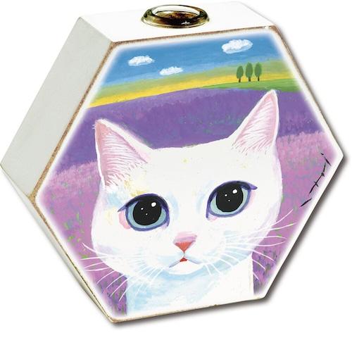 猫花瓶(糸井忠晴フラワーベース)ネコとラベンダー畑