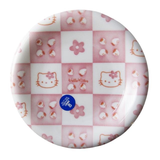 レトロキティ イチゴ×花柄 小皿(箱なし)【1997年_レアグッズ】直径12.5cm