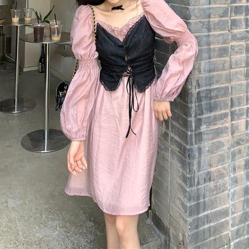 2色/ボリューム袖ビスチェ風ワンピ ・18834