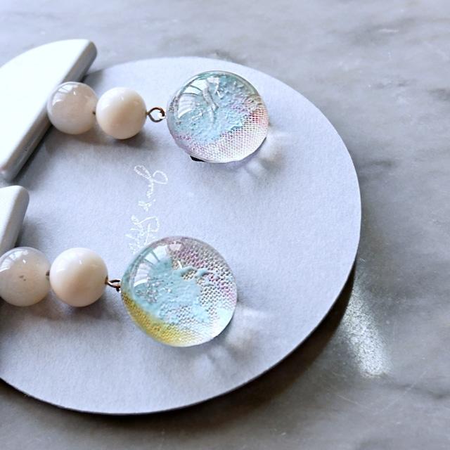 """ Earrings NO.0-1567″ ファブリックonペイント"