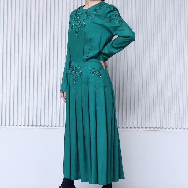 90年代 刺繍ビーズ ロングワンピース アメリカ 古着 日本M