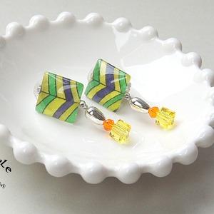 """"""" Earrings NO.238-742″ グリーンイエロー"""