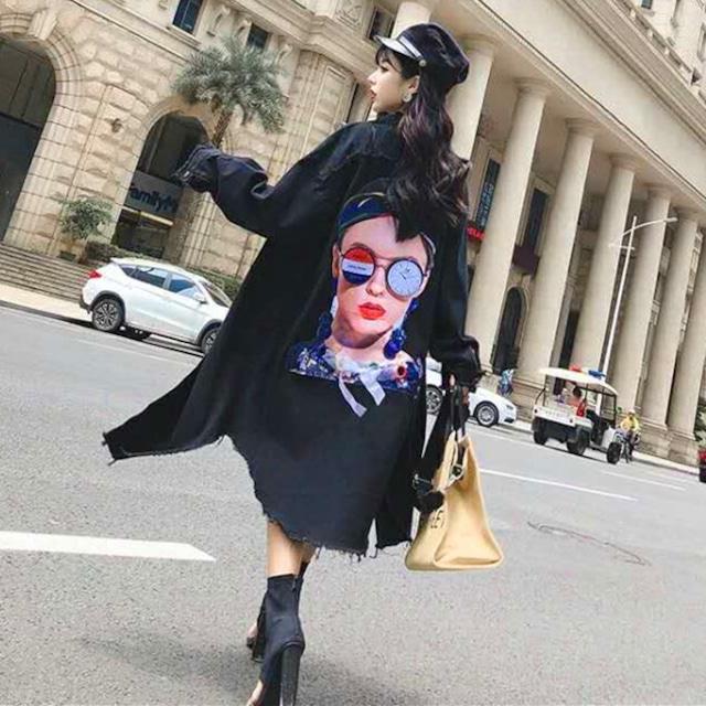 【アウター】プリント個性的ロングファッションコート42918790