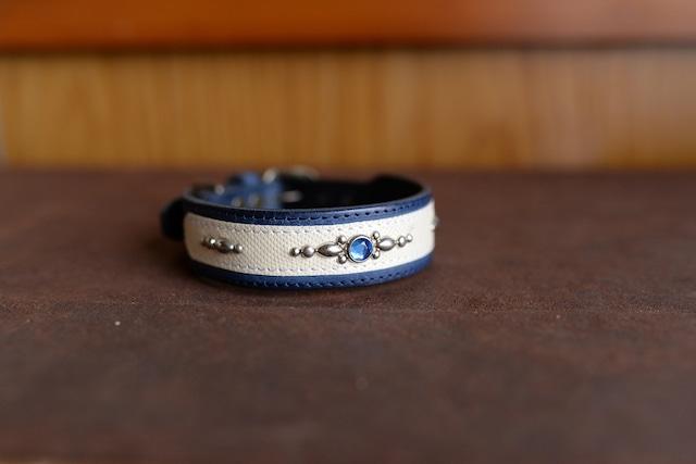 深い青色のミニチュア・シュナウザー用の首輪 K-smn6w7sl15bb