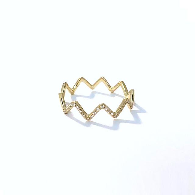 Diamonds on Zig-Zag Ring / K18YG (#1〜#4)