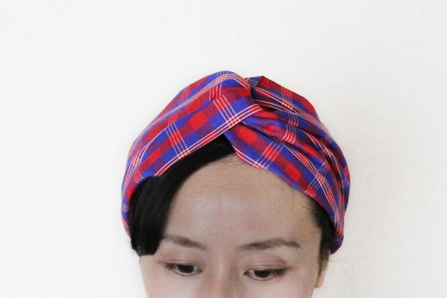 マサイ布のヘアターバン|アフリカ布ターバン / 幅広ボリューム