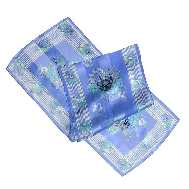シルク100%|日本製|横浜スカーフ 手捺染 ブーケライン|クリア&エレガントなイメージ♪【sp053】