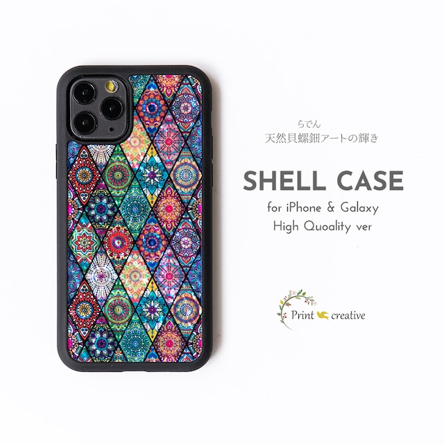 【iPhone13対応】天然貝シェル★ピンクモロッコタイル(iPhone/Galaxyハイクオリティケース)|螺鈿アート