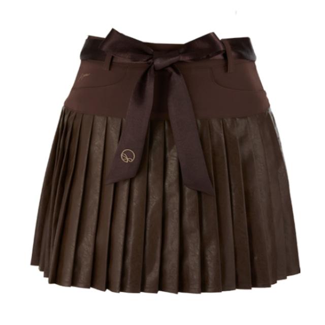 Satin Leather skirt(Brown)